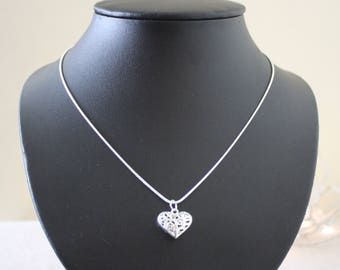 Silver Metal Cutout Heart Pendant on a 925 Silver Chain Necklace