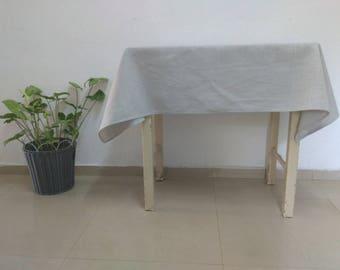 Light Gray Tablecloth Light Gray Linen Tablecloth Rustic Tablecloth Small Tablecloth Vintage Tablecloths Bohemian Tablecloth