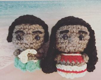 Disney Moana and Maui, Disney Princess, Hawaii, Disney Film, Amigurumi, crocheted figurine, plushie, presentidea