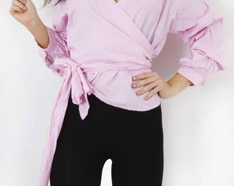 New Pink Striped Ruffle Blouse