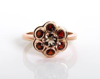Gold Flower Ring - Small Garnet Ring - Minimalist Ring - Garnet Floral Ring - Rose Gold Ring - Ring with Garnet - Birthday Gift for Her