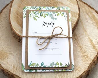 Green Foliage Wedding Invitation // Greenery Wedding Invite // Watercolour Print, Leaves & Foliage - SAMPLE