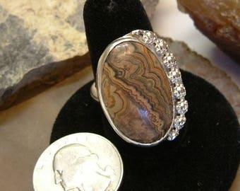 Utah Flowering Tube Onyx (ooak) in .925 Fine Sterling Silver Ring Size 9 1/2 137B