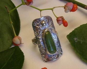Variquoise Saddle Ring Sterling Silver OOAK Variscite Turquoise Size 7 1/2 Statement Ring Green Black 350B