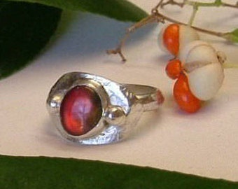 Ammolite Ring Sterling Silver  OOAK Utah Gem in .925 Sterling Silver Statement Ring Size 8  Red 342 G