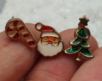 Holiday Earring Set, Mix and Match Earrings, Santa Earrings, Set of 3 Jewelry, Christmas Tree Earrings, CandyCane Earrings, Christmas Studs