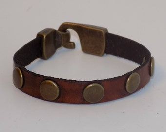 Brown Leather Bracelet with Brass - Leather and Brass Bracelet - Leather Jewelry - Women's Leather Bracelet - Men's Leather Bracelet