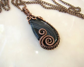 Unique Jewelry Boho Pendant Gift for Wife for her Wire wrap pendant Copper Pendant Black Agate Necklace Wire Wrapped Jewelry Gift for mom