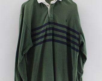 POLO RALPH LAUREN Stripes Polo Shirt Men Medium Polo Sportswear Button Up Long Sleeves Shirt Polo Club Casual Green Color Men Size M