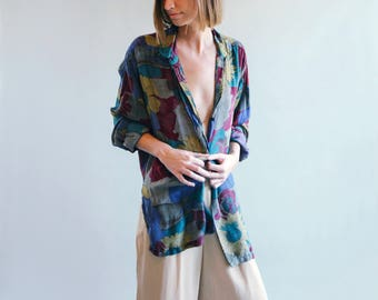 Maroon/Blue Oversized Floral Print Blouse | Button-Down Shirt | Collared Top | S-M-L-XL