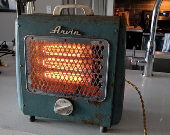 Vintage Space Heater Table Lamp