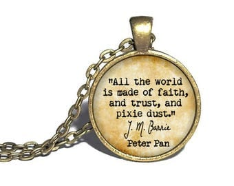 Peter Pan, 'Faith, trust and pixie dust,' Tinkerbell Necklace, JM Barrie, Literary Bookish Gift Jewelry, Neverland Lost Boys