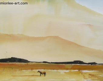 Watercolor art painting of Oregon farm and landscape with a horse in the foreground, print from a handmade original