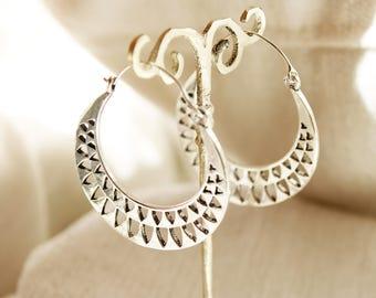 Creole earrings Dainty Silver hoop earrings Gypsy Boho earrings Big hoops minimal earrings Boho jewelry festival earrings Big creole tribal