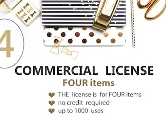 License for Commercial Use, No-Credit, for four Items, Watercolor Clipart, Digital Paper Packs, PearlsAndParis
