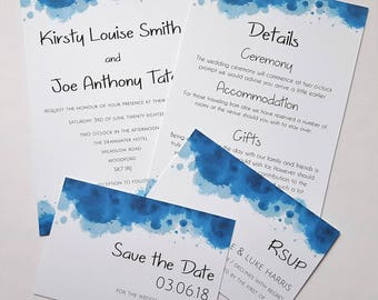 Invitation & Save the Date, Contemporary Watercolour Wedding Stationery