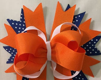 Boutique Style Hair Bow (Orange & Blue)