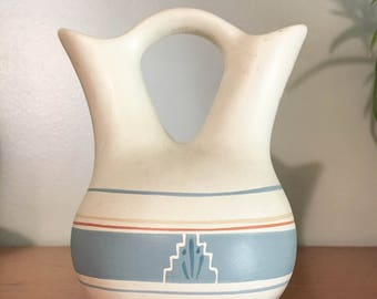 Small mexican style pottery - vase - porcelain