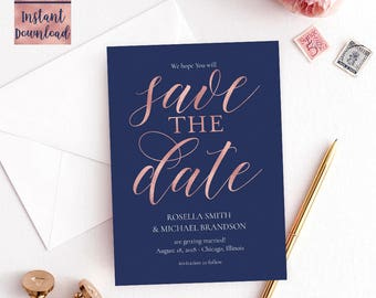 Navy Blue Rose Gold save THE date card Template, 5x7 Printable Wedding save the date card, Editable PDF Digital Download, Instant Download