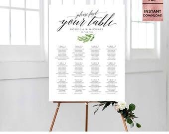 Green Leaves Wedding Table Template, Printable Wedding Seating Sign, Seating Chart Poster, Seating Plan, Editable PDF, Digital Download