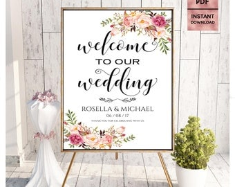 Floral Wedding Welcome, Wedding Welcome Sign, Printable 24x36 18x24 16x20 8x10 Script Font Sign, Welcome Sign, Editable PDF Digital Download