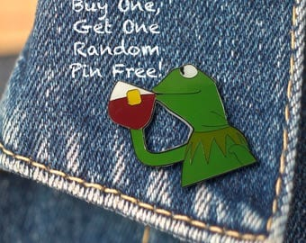 BUY 1, GET 1 Random Pin Free! Kermit None of My Business Meme Enamel Pin Kermit Lapel Pin Kermit Pin Badge Meme Pin Funny Pin Hard Enamel