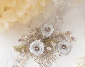 Olive Swirl -- Hand painted brass flower rhinestone hair comb