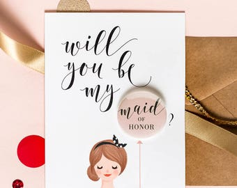 Will You Be My Bridesmaid - Maid Of Honor - Button Pin Card - Bun Hair Red