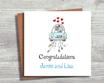 Wedding Card, Congratulations Wedding Card, Personalised Mr and Mrs Card