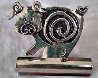 Bulldog Clip - Pig - Magnetic - Silver Finish