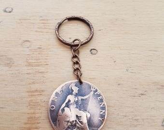 1900 Vintage/Antique British Old Penny coin keyring, a lovely gift! Queen Victoria, Victorian
