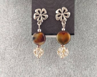 Brown Stone Sterling Silver Floral Earrings