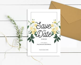 White Floral Save the Date | Save our Date Template | Printable Save the Date Card | White Rose Save the Date | DIY Save the Date Download