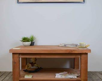 Rustic Chunky Wood Shelved Coffee Table