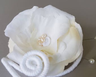 Creamy white rose petals boutonniere