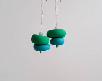 Green & Tea – Polymer Clay Drop Earrings