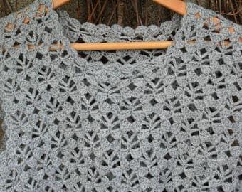 Vintage Crochet Vest - Boho Vest - Ladie's Vest - Grey Vest - Bohemian Vest - cottage vest - grey crochet clothing - handmade vest