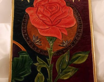 """Painting """"beauty and the beast"""" leather entirely by hand"""