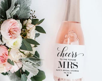 Bridal Shower Mini Champagne Labels - Cheers to the Future Mrs.