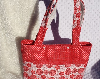Red And White Floral and Polka Dot Summer Tote Bag