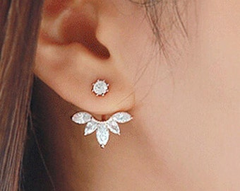 Silver Crystal Flower Ear Jacket Earrings Clear Rhinestone Stud Floral Crawler Pair Gold Front Back Beautiful