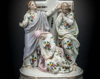 RARE Three Marys at the Crucifixion Porcelain Statue Holy Water Font Cross Jesus