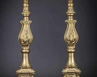 "18"" Pair of French Gilt Bronze Candlesticks Scrolled Feet Two Neo Baroque Candle Holders"