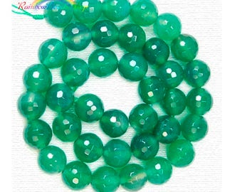 Natural Faceted Green Agate beads, Gemstone Beads, 4mm 6mm 8mm 10mm  Round Natural Beads, Stone Spacer Beads, 15''5 strend