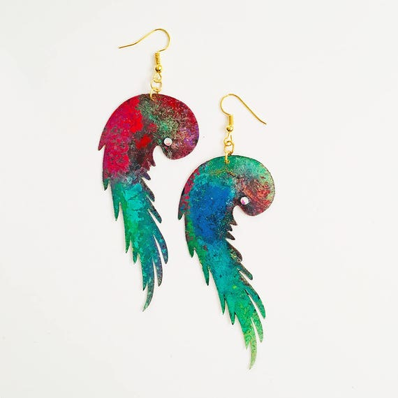 Parrots earrings - Parrots drops earring - Trending jewelry - Feather Jewelry - Design accessory - Novelty earring - Gift for her - Feathers