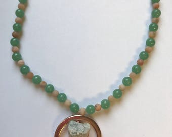 Wire weapped quartz crystal with moonstone and green aventurine gemstone beads