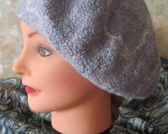 Beret hat Beautiful Dried grey beret hat beret beanie Slouch hat hand Dried hat cap Merino wool gray Silver takes