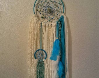 Reiki Dream Catcher, Throat Chakra, Holistic Art, Crystal Art, Boho Dream Catcher, OOAK, Meditation, Healing Art, Native Artist, Hand Made