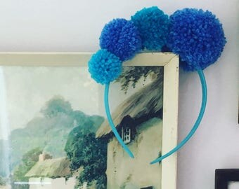 Winter Blues pom-pom headband