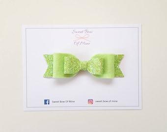 Green Bow Headband or Clip | Green Glitter & Wool Felt | Baby Headband, Baby Bow, Girls Clip, Glitter Bows